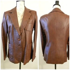 Leather Blazer Brown Jacket Sz 13/14 Vintage 70's